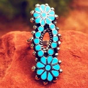 Navajo Turquoise Flower Ring